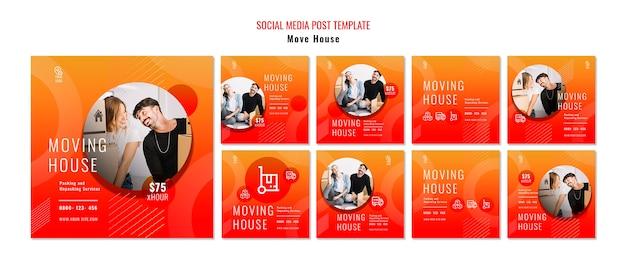 Verschieben sie haus social media post vorlage