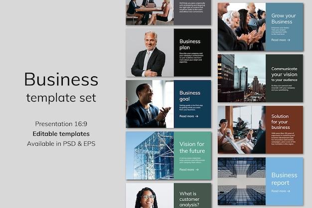 Verschiedene business-präsentationsvorlagen psd mit people-fotografie-sammlung