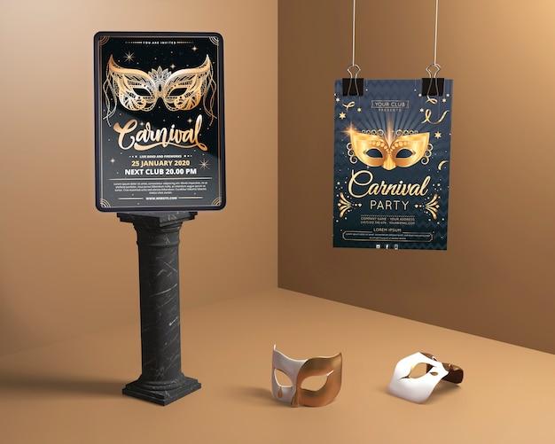 Verschiedene mock-up designs für die karnevalsmaskenparty