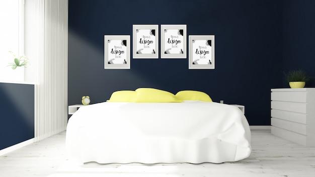 Verschiedene rahmenmodell in der 3d-wiedergabe des schlafzimmerinnenraums