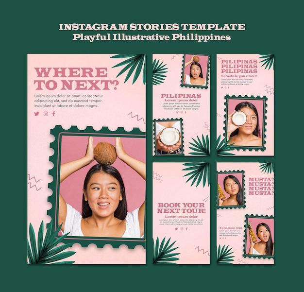 Verspielt illustrierte philippinische instagram-geschichten