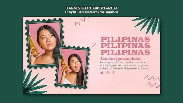 Verspielte illustrierte philippinische fahnenschablone
