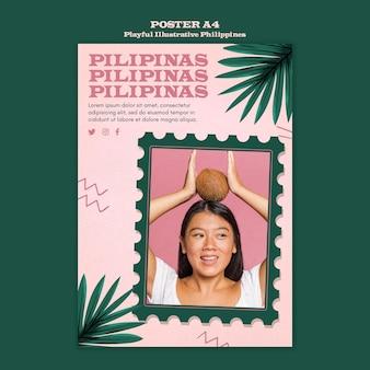 Verspielte illustrierte philippinische plakatgestaltung
