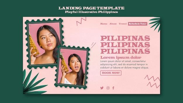 Verspieltes illustriertes landingpage-thema der philippinen