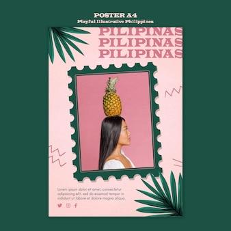 Verspieltes illustriertes philippinisches plakat