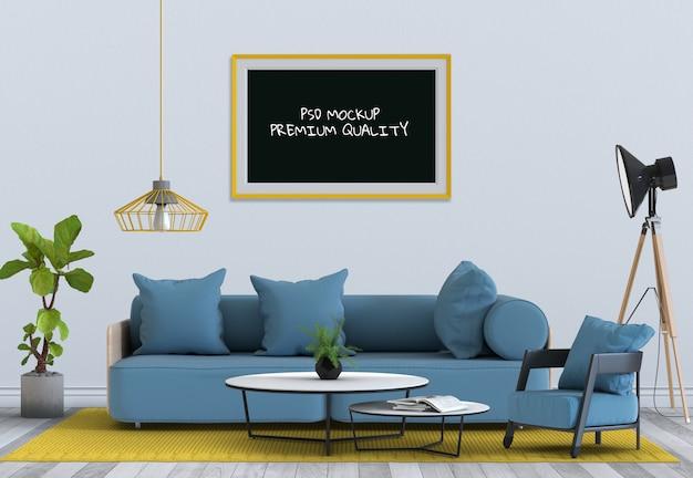 Verspotten sie herauf plakatrahmen im innenwohnzimmer und im sofa, 3d übertragen