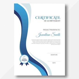 Vertikale blaue wellen zertifikatvorlage