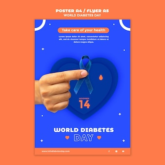 Vertikale druckvorlage für den weltdiabetestag