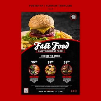 Vertikale druckvorlage für fastfood