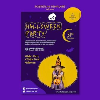 Vertikale druckvorlage für halloween-party