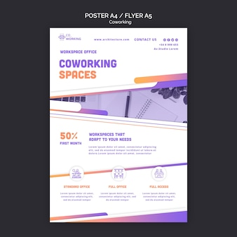 Vertikale flyer-vorlage für coworking space