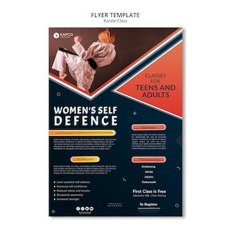 Vertikale flyer-vorlage für die selbstverteidigungsklasse der frauen