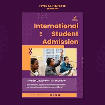 Vertikale flyer-vorlage für die universitätsausbildung