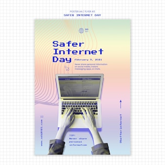 Vertikale flyer-vorlage für ein sichereres tagesbewusstsein im internet