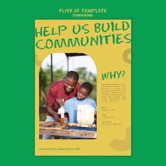 Vertikale flyer-vorlage für fundraising