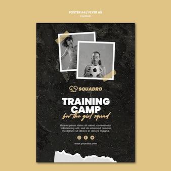 Vertikale flyer-vorlage für fußballerin