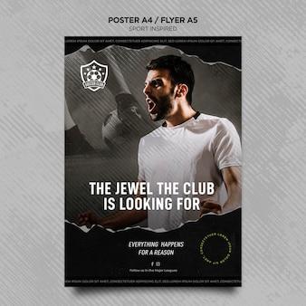 Vertikale flyer-vorlage für fußballverein