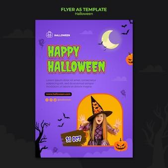 Vertikale flyer-vorlage für halloween mit kind im kostüm Kostenlosen PSD