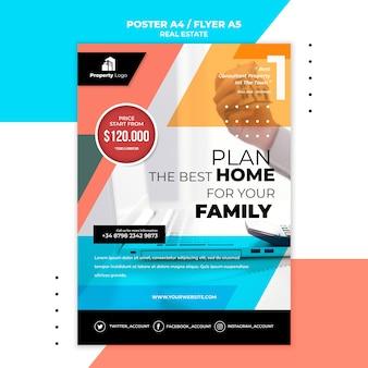 Vertikale flyer-vorlage für immobilienunternehmen
