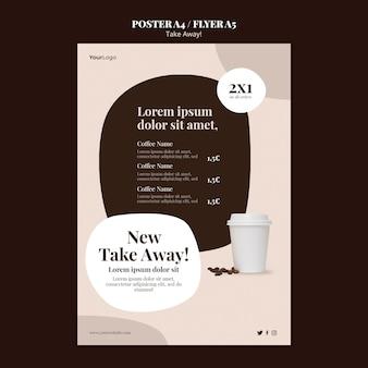 Vertikale flyer-vorlage für kaffee zum mitnehmen