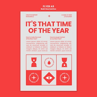Vertikale flyer-vorlage für neujahrsrückblick und trends