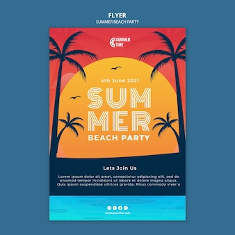 Vertikale flyer-vorlage für sommer-strandparty
