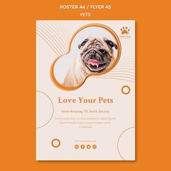 Vertikale flyer-vorlage für tierhandlung mit hund