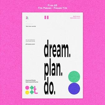 Vertikale flyer-vorlage für typphrasen