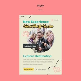 Vertikale flyer-vorlage für virtual-reality-urlaubsreise