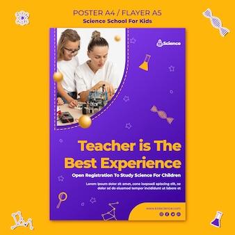 Vertikale flyer-vorlage für wissenschaftsschule für kinder