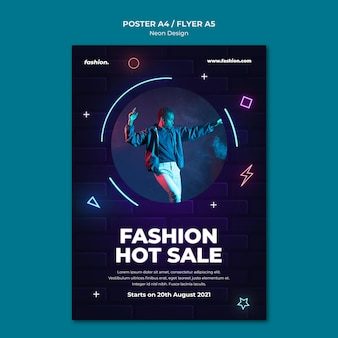 Vertikale neon-plakatvorlage für den verkauf von bekleidungsgeschäften
