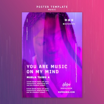 Vertikale neon-plakatvorlage für musik mit künstler