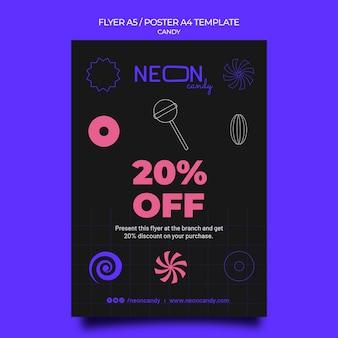 Vertikale neon-plakatvorlage für süßwarenladen