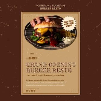 Vertikale plakatschablone für burger-restaurant