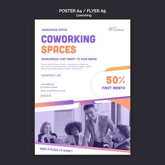Vertikale plakatschablone für coworking space