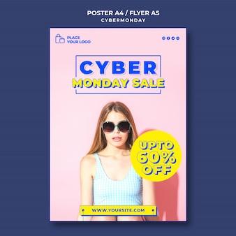 Vertikale plakatschablone für cyber-montag-einkauf