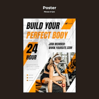 Vertikale plakatschablone für das trainieren im fitnessstudio während der pandemie