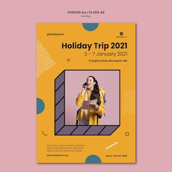 Vertikale plakatschablone für ferien mit weiblichem rucksacktouristen
