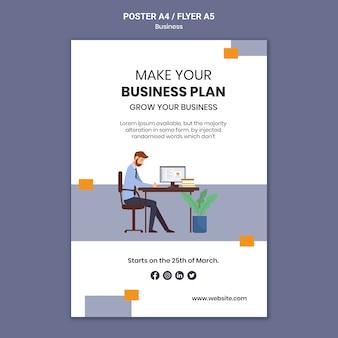 Vertikale plakatschablone für firma mit kreativem geschäftsplan