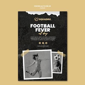 Vertikale plakatschablone für fußballspielerin