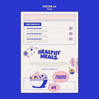Vertikale plakatschablone für gesunde mahlzeiten