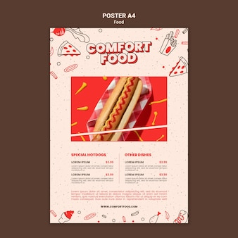 Vertikale plakatschablone für hot-dog-komfortnahrung