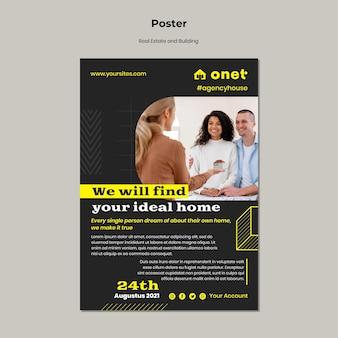 Vertikale plakatschablone für immobilien und gebäude