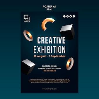 Vertikale plakatschablone für kunstausstellung mit kreativen dreidimensionalen formen