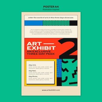 Vertikale plakatschablone für kunstausstellung