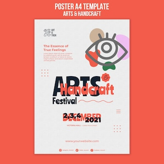 Vertikale plakatschablone für kunsthandwerksfestival
