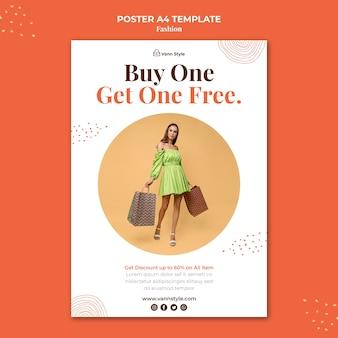 Vertikale plakatschablone für modeeinkaufsgeschäft