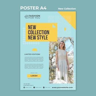 Vertikale plakatschablone für modekollektion mit frau in der natur