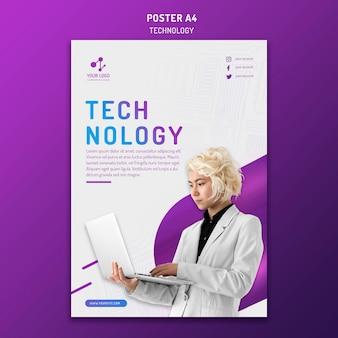 Vertikale plakatschablone für moderne technologie mit laptop