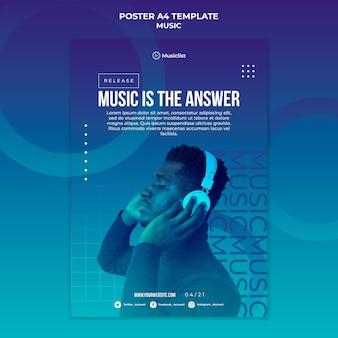 Vertikale plakatschablone für musikliebhaber